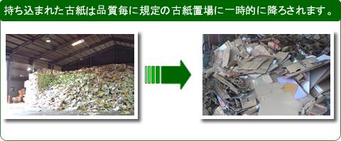 持ち込まれた古紙は品質毎に規定の古紙置場に一時的に降ろされます。