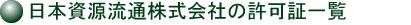 日本資源流通株式会社の許可証一覧